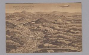 Postal alemana con un mapa de Belfort, el principal teatro de operaciones del 3er Ejército Italiano.