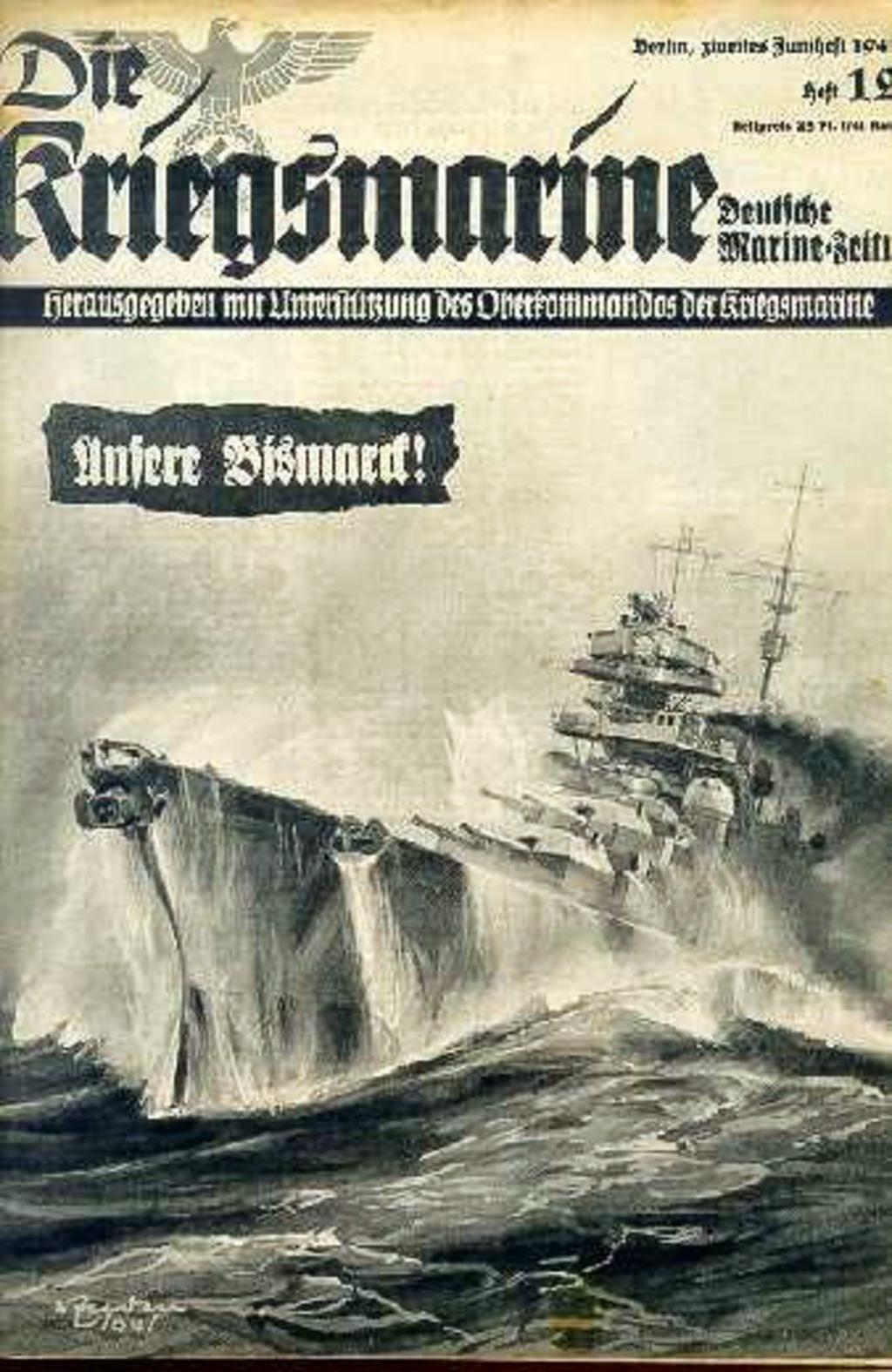 Portada de la revista Die Kriegsmarine, mostrando una épica imagen del acorazado Bismarck