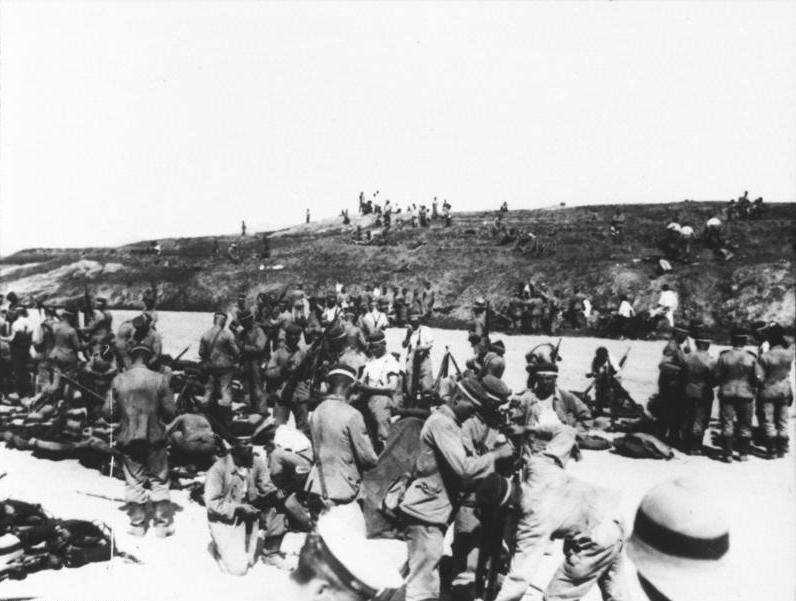 Tropas alemanas en el frente de Tsingtao