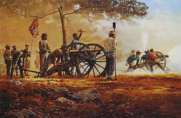 Artillería confederada en acción.