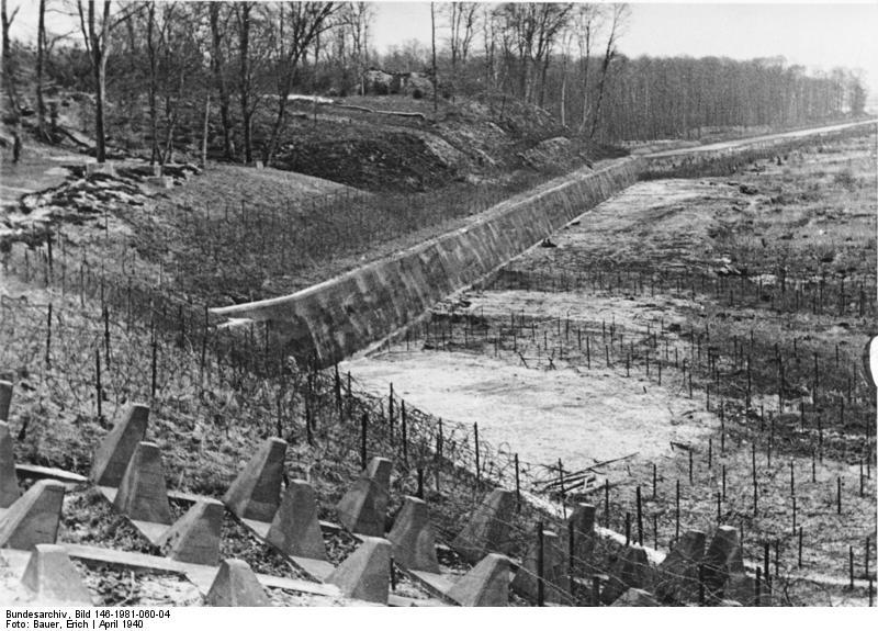 Hileras de dientes de dragón y alambre de espino, colocadas por los alemanes en el Bienwald. Sin duda, los troncos caídos no eran el único obstáculo