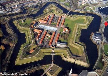 La ciudadela de Copenhague. La esquina suroeste es la que se halla abajo a la izquierda de la foto.