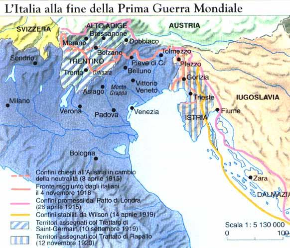Si bien los rayados muestran los territorios obtenidos por Italia tras la guerra, también sirven para indicarnos las aspiraciones de esta antes del conflicto.