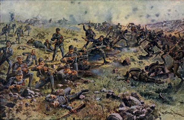 Los combates cuerpo a cuerpo en el extremo sur del campo de batalla fueron una de las características de esta batalla.