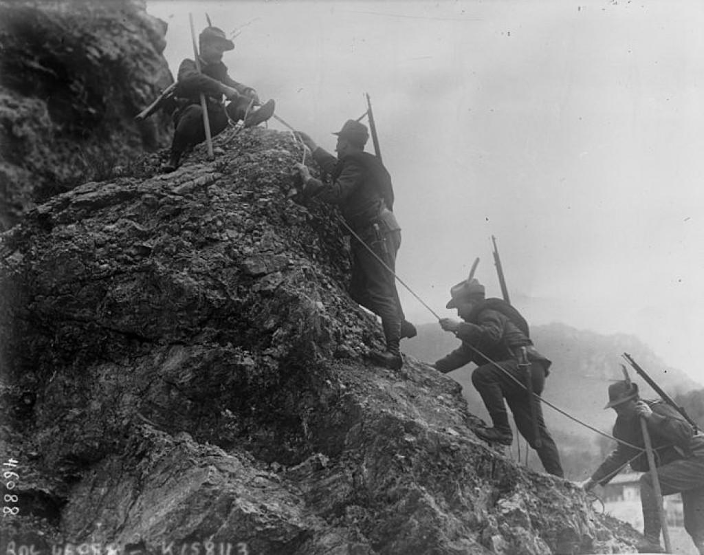 Alpini (tropas de montaña) en 1914. Fueron una de las unidades de élite del Ejército italiano.