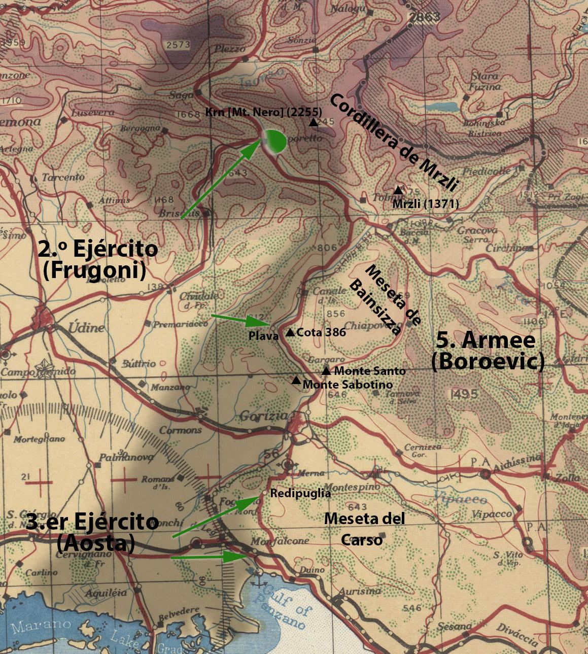 Ejércitos, ejes de avance y localidades fundamentales de esta fase de la batalla.